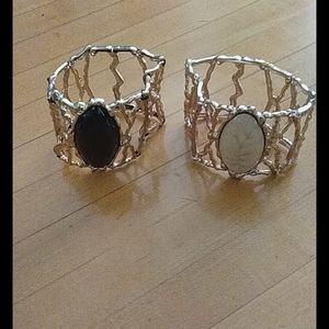 Gold Cage Bracelets Cream & Black Stretch